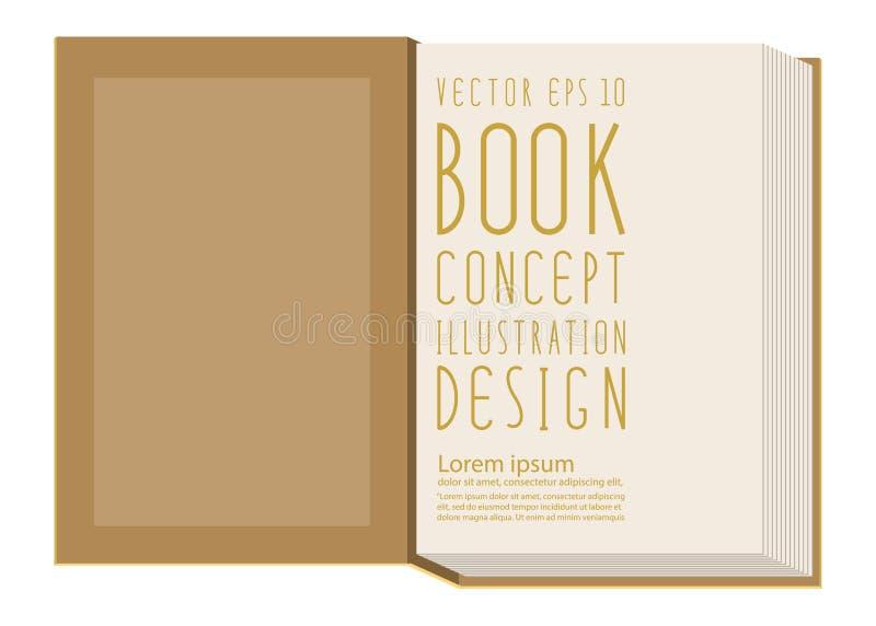 Masquez la première page à l'intérieur du calibre de livre se tenant sur le surfac jaune illustration de vecteur