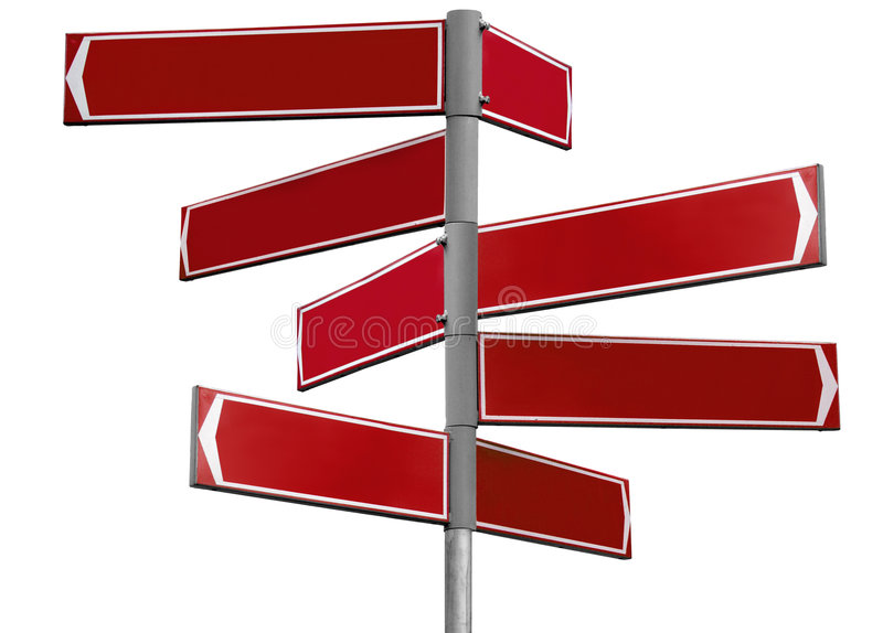 Masquez le signal de direction rouge photographie stock