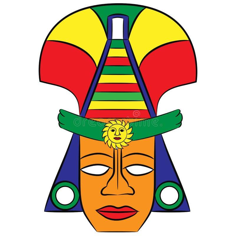 Masquez les ancêtres aztèques du Mexique sur un fond blanc illustration libre de droits