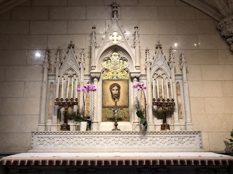 Side altar Saint Patrick Cathedral with Mosaic of Shroud Turin Holy Face Jesus Christ stock photography