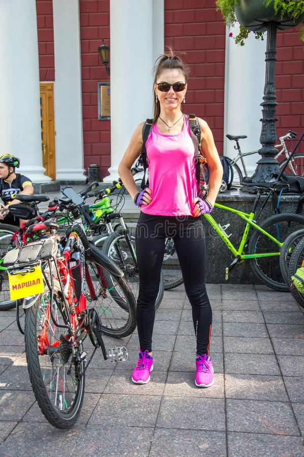 Mass charity bike ride through the city streets. Place of collection, beginning. Portrait. bicyclers. Odessa City, Dumskaya Square, Ukraine. September 01 stock photography