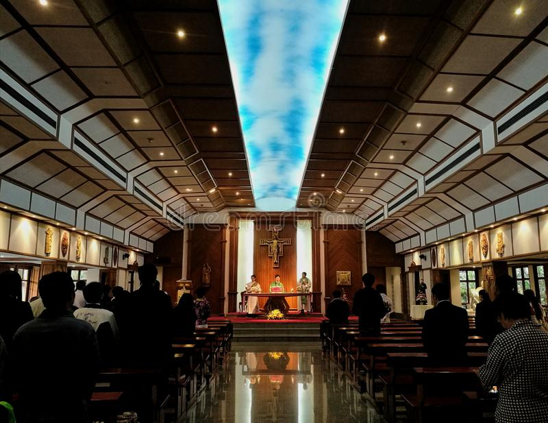 Mass in a church royalty free stock photo