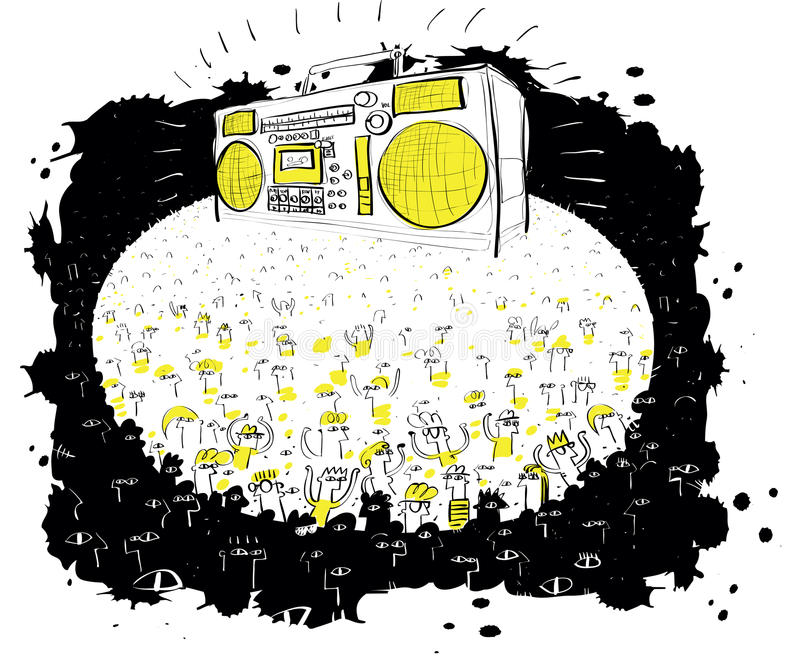 Mass Concert with Huge Boom box vector illustration