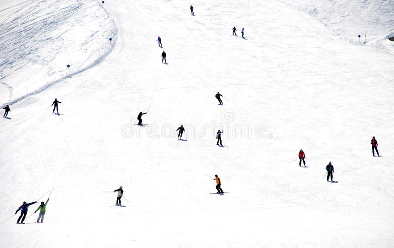 Download Mass Descent Of Mountain Skiers  From Hillside Stock Photo - Image: 18920450