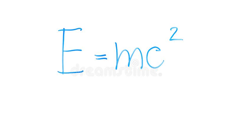 Mass-energy equivalence formula written on glass, laws of classical physics stock images