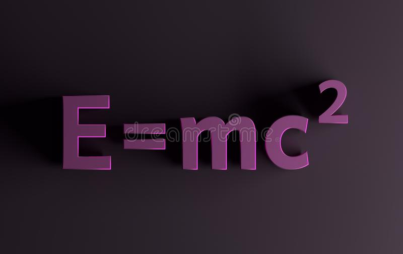 Mass energy formula in pink colors vector illustration