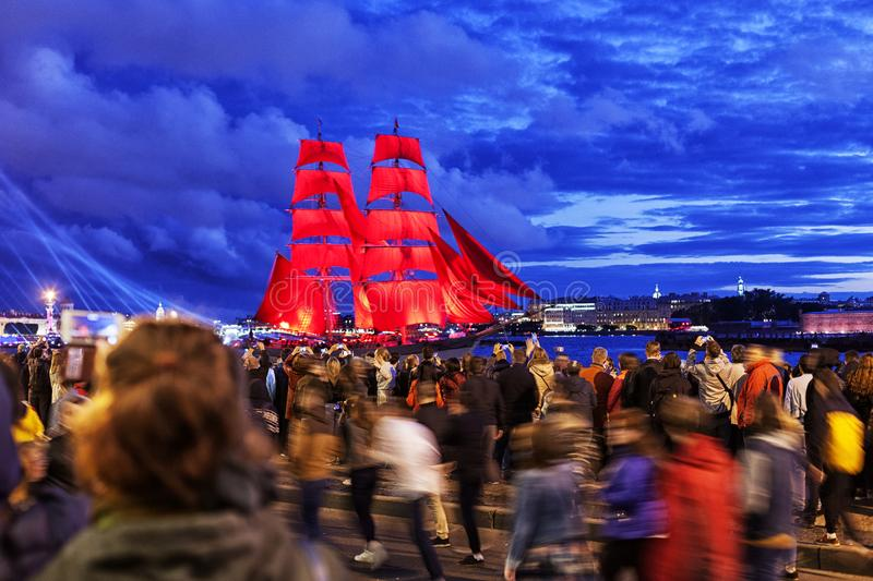 Celebration `Scarlet Sails` show during the `White Nights` Festival in St.Petersburg, Russia. stock image