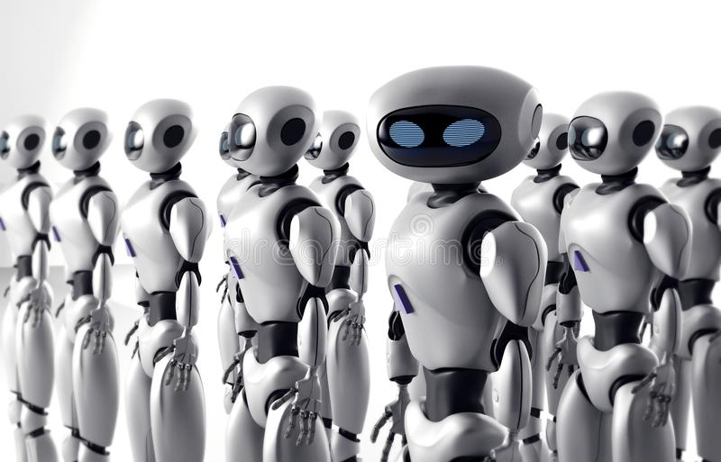 Mass of many robots. A crowd of android cyborg. 3d render.  stock illustration