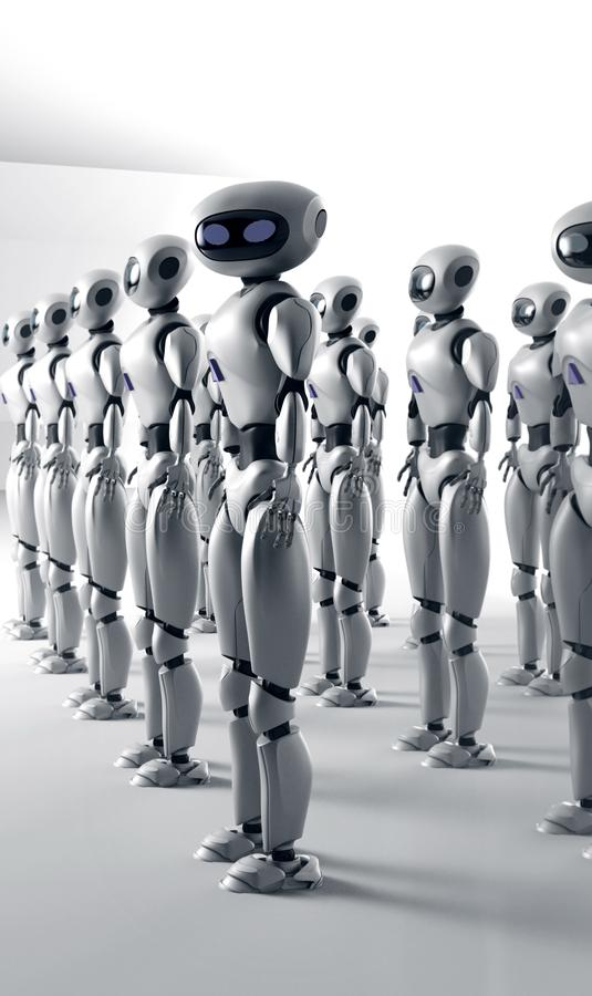 Mass of many robots. A crowd of android cyborg. 3d render.  vector illustration