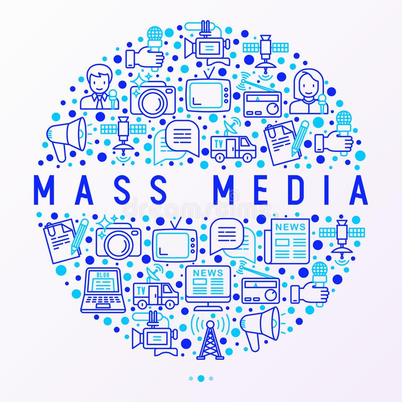 Mass media concept in circle with thin line icons stock illustration