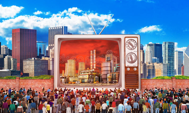 Mass media concept. Crowd of people near fence watch to old tv. On the screen, bad image. Behind the fence a good image. Concept of propaganda and refugee. 3d royalty free illustration