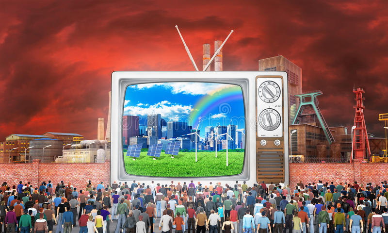 Mass media concept. Crowd of people near fence watch to old tv. On the screen, good image. Behind the fence a bad image. Concept of propaganda and zombie vector illustration