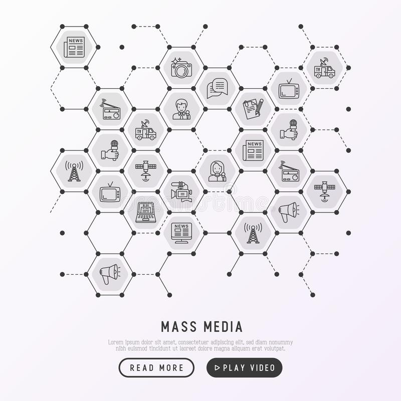 Mass media concept in honeycombs royalty free illustration