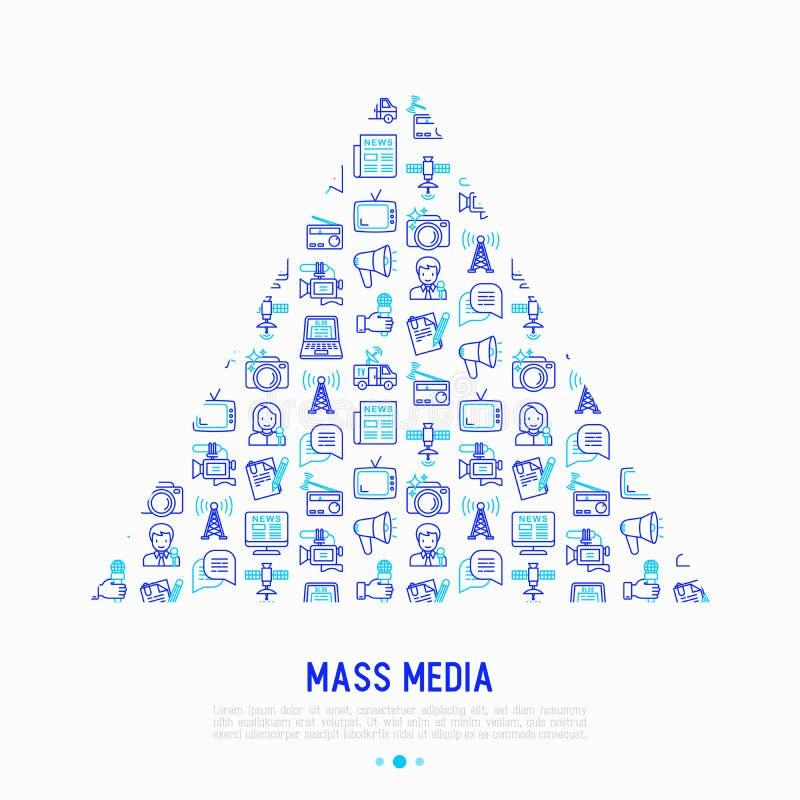 Mass media concept in triangle stock illustration