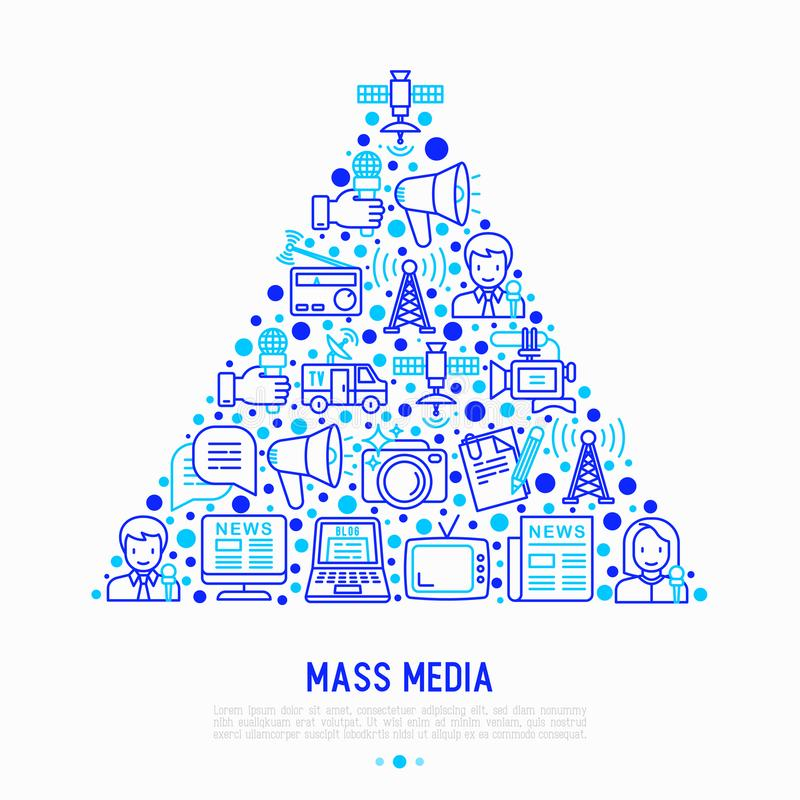 Mass media concept in triangle vector illustration