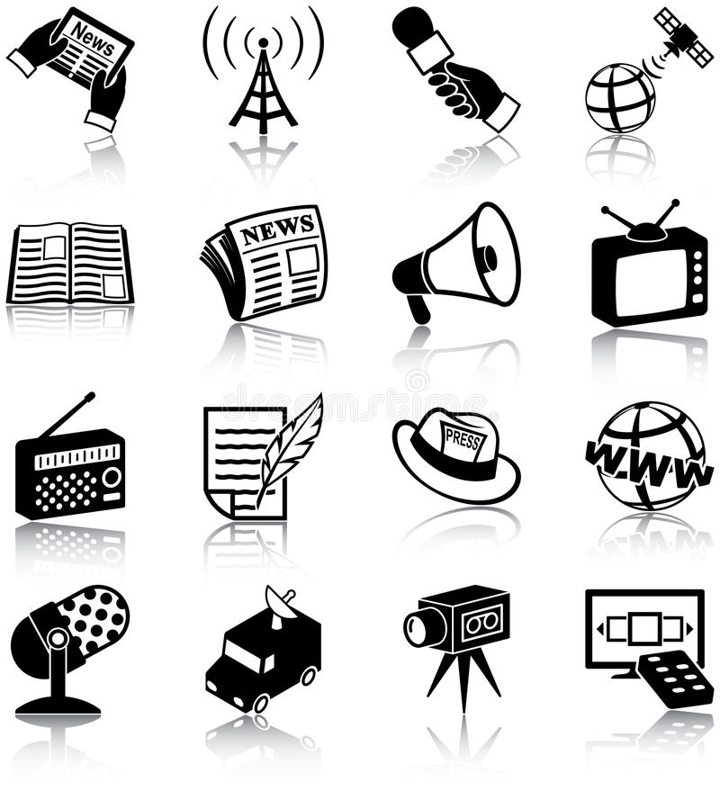 Mass media icons. Mass media related vector icons/ silhouettes vector illustration