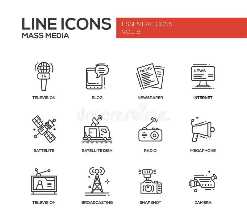 Mass Media line design icons set. Set of modern vector plain simple line design mass media icons and pictograms. Tv, newspaper, blog, internet, radio satellite royalty free illustration