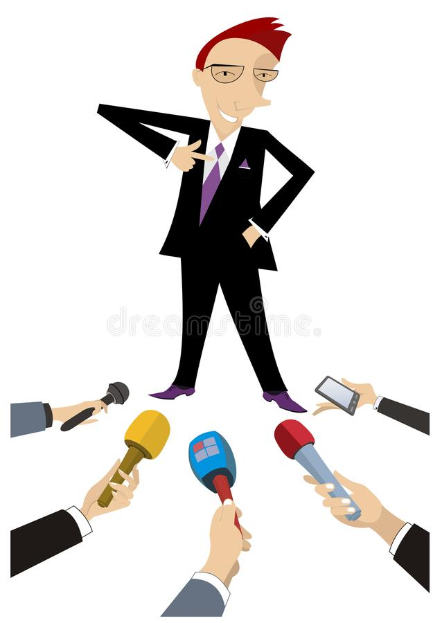 Mass media obtain an interview from cheerful man illustration. Reporters interview a smiling and proud man who points a finger to his chest isolated on white stock illustration