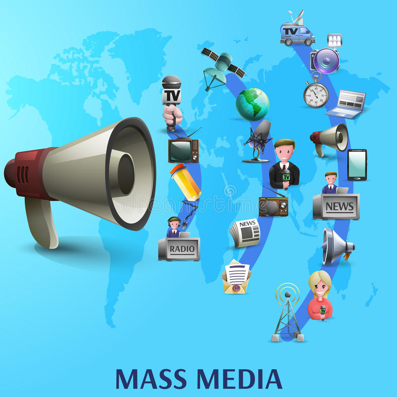 Mass Media Poster. With news makers and devices icons on waves from big megaphone cartoon vector illustration stock illustration