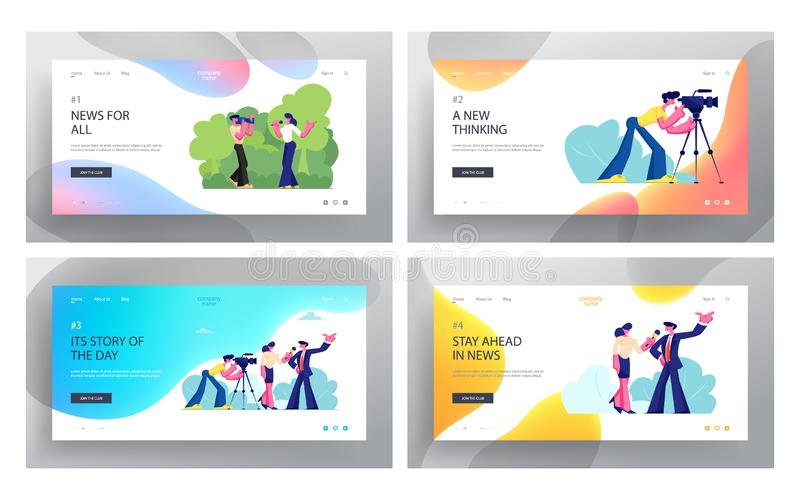 Mass Media Profession. Job Website Landing Page Set, Live News, Tv Broadcasting with Cameraman and Reporter. Female Journalist royalty free illustration