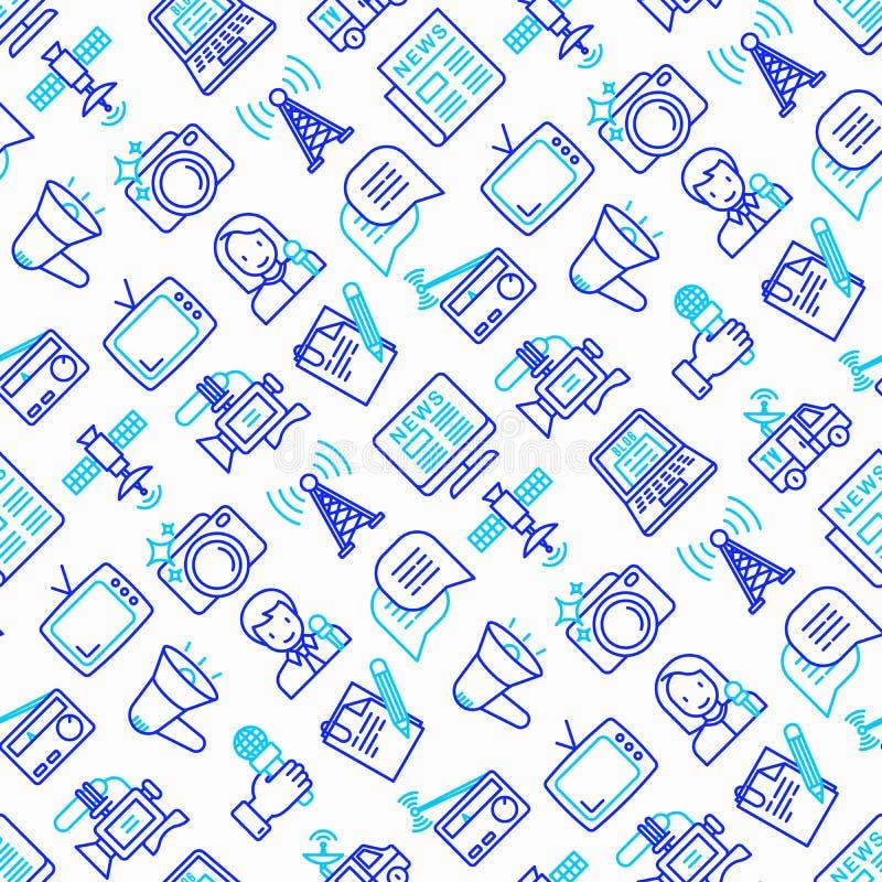 Mass media seamless pattern with thin line icons: journalist, ne royalty free illustration