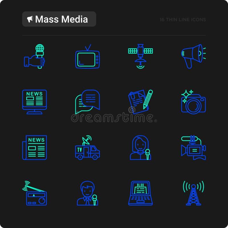 Mass media thin line icons set stock illustration