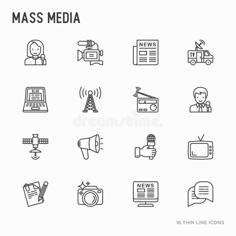 Mass media thin line icons set: journalist, newspaper, article, royalty free illustration