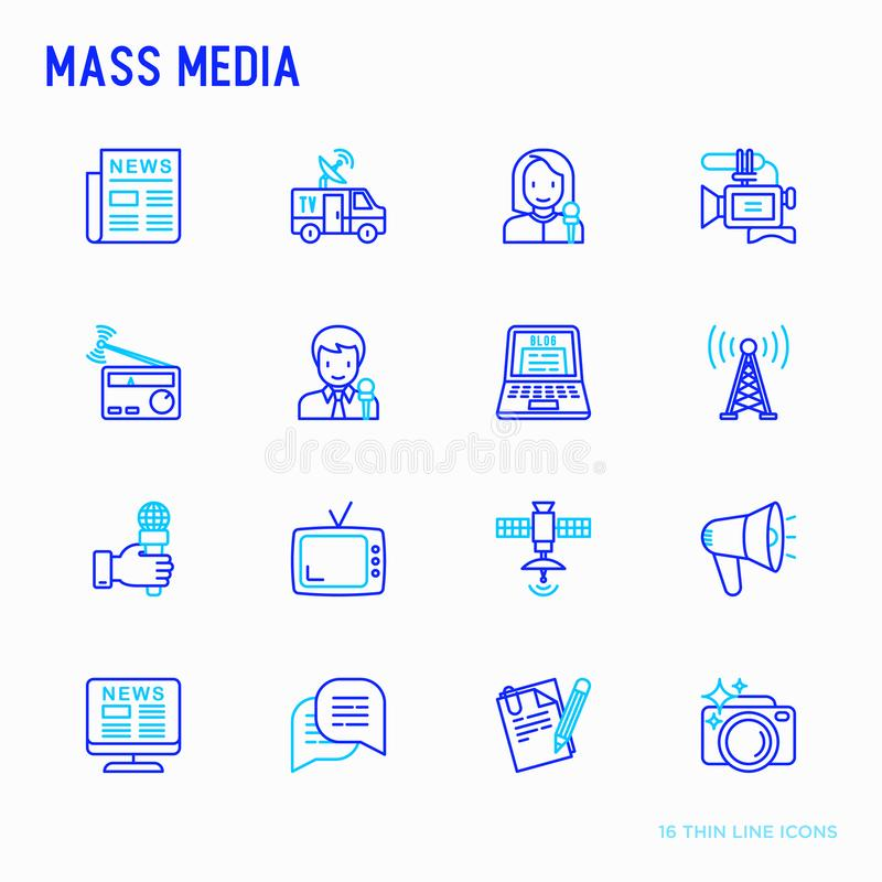 Mass media thin line icons set: journalist, newspaper, article, stock illustration