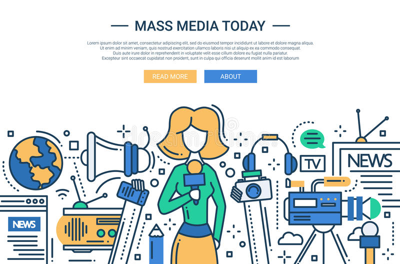 Mass Media Today - line design website header. Illustration of vector modern line flat design website banner, header with a journalist girl and mass media vector illustration