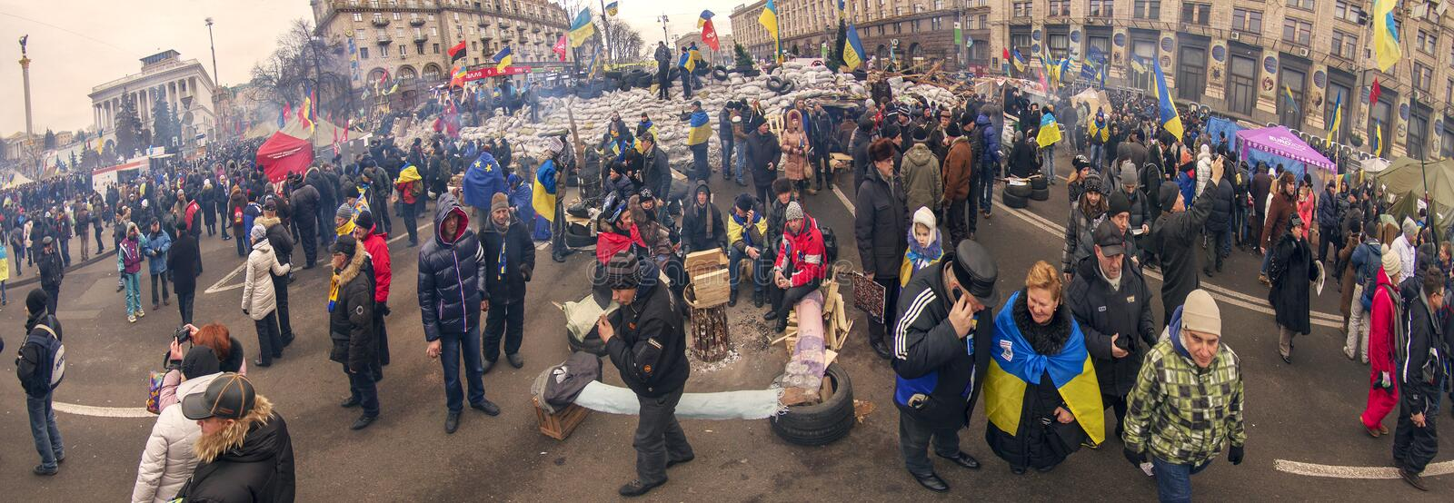 Mass protest against the pro-Russian Ukrainians course Presiden stock photos