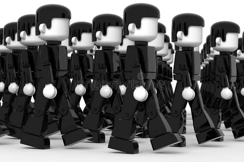 Mass Psychology. Illustration of crowd of 3D people marching towards the same direction vector illustration