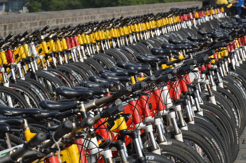 A mass of push bikes on Xian City Wall royalty free stock photography