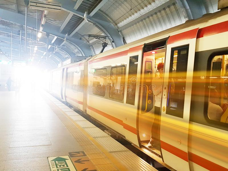 Mass Rapid Transit MRT train from bangkok Thailand, july 2018 stock photography