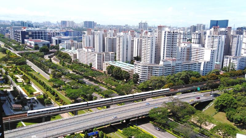 MRT train track and expressway royalty free stock photos