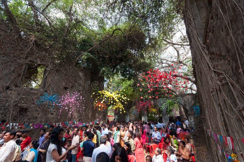 Mass at ruins of St. John the Baptist church, Mumbai stock image