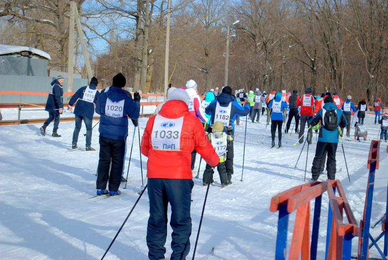 """Mass start of the participants of the trade race for cross-country skiing """"Ski Track of Russia-2019"""". stock photography"""
