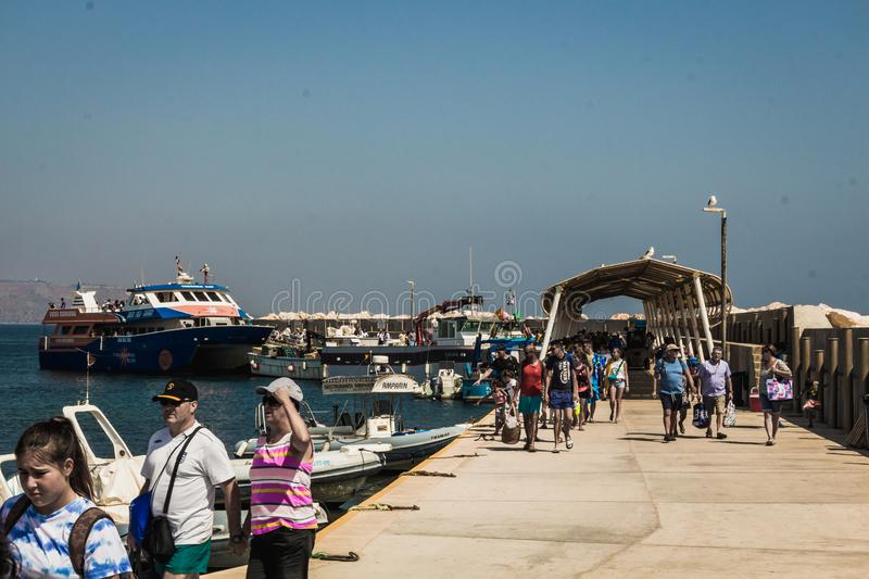 Mass tourism to the former pirate island of Tabarca near the city of Alicante stock images