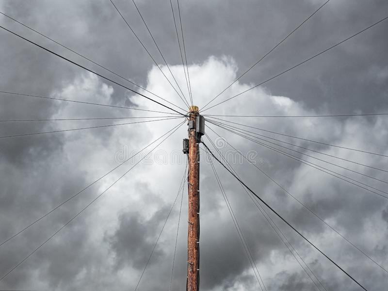 Mass Of Wires Connected To A Telegraph Pole royalty free stock photos