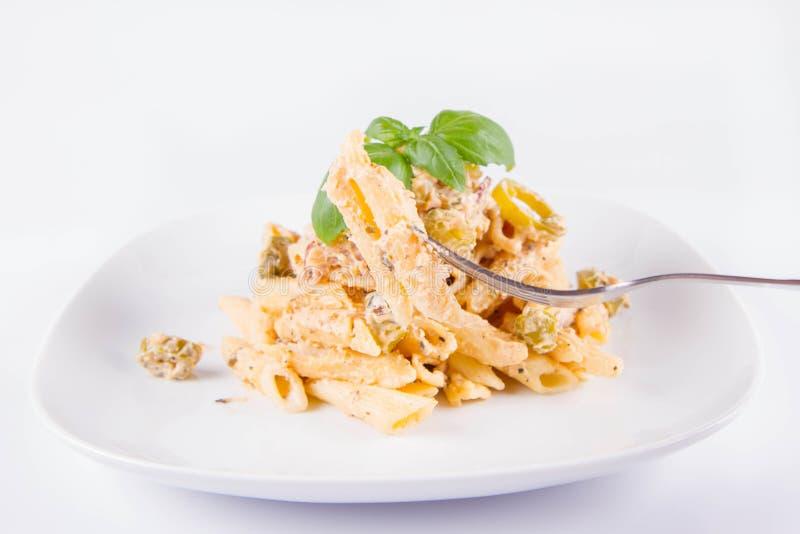 Massa comida com uma forquilha fotografia de stock royalty free