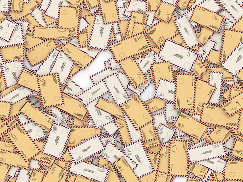 massa 3d das letras e dos envelopes ilustração stock