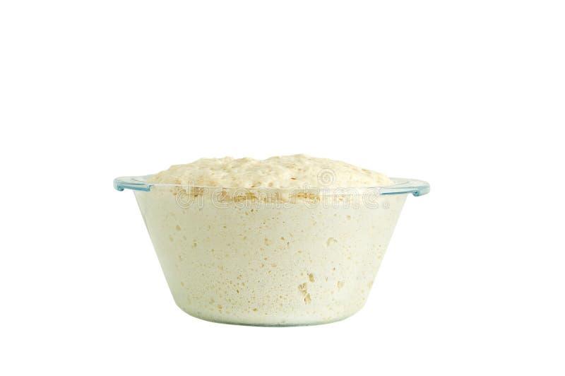 Massa de fermento da farinha de trigo No prato de vidro isolado branco imagem de stock