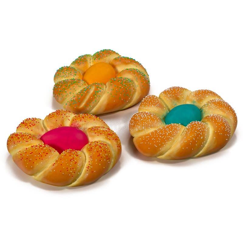 Massa de pão doce da Páscoa com o ovo na ilustração 3D branca ilustração do vetor
