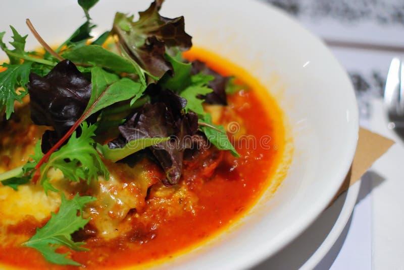 Massa do lasagna do Tofu e do espinafre com salada fotografia de stock