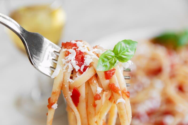 Massa do Linguine com molho e queijo de tomate imagens de stock royalty free