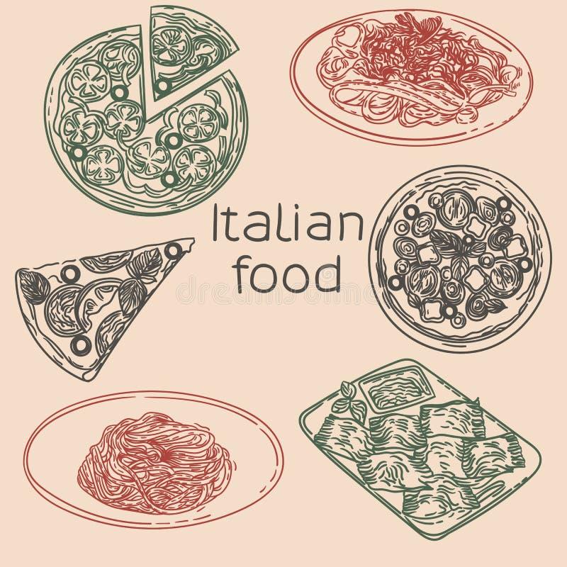 Massa e ravioli da pizza ilustração stock