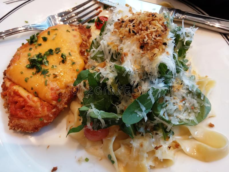Massa, galinha, salat, alimento delicioso do queijo fotografia de stock