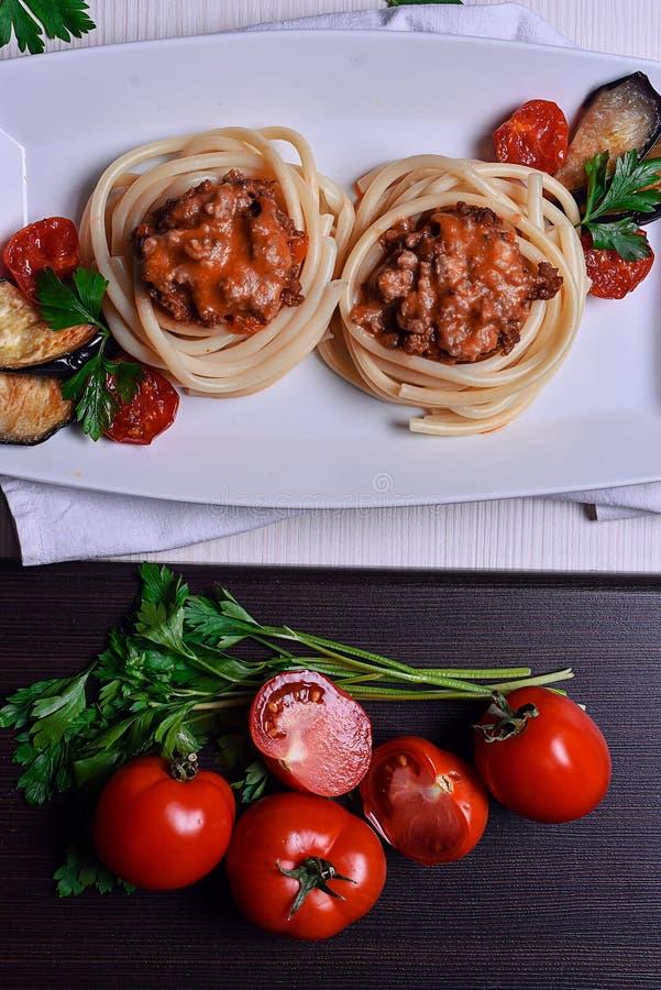 Massa italiana com carne em um café jantar no restaurante han fotografia de stock royalty free