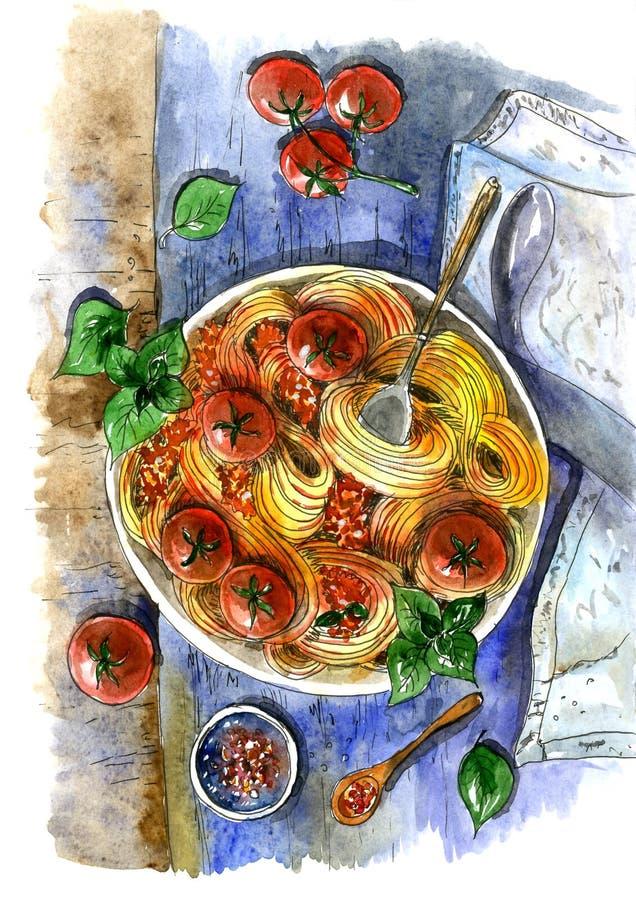 Massa italiana com tomates Pintado na aquarela ilustração do vetor