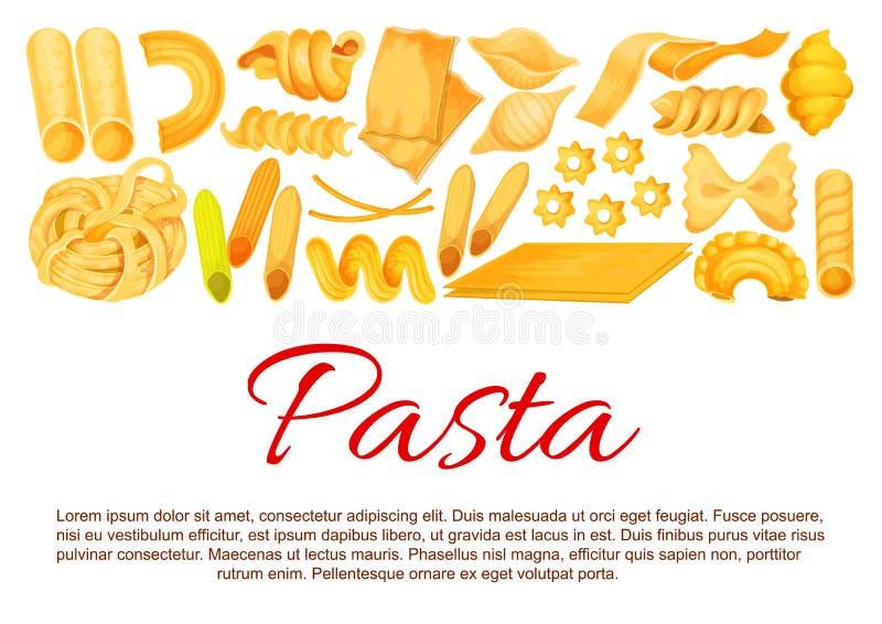 A massa italiana do vetor classifica o cartaz ilustração stock