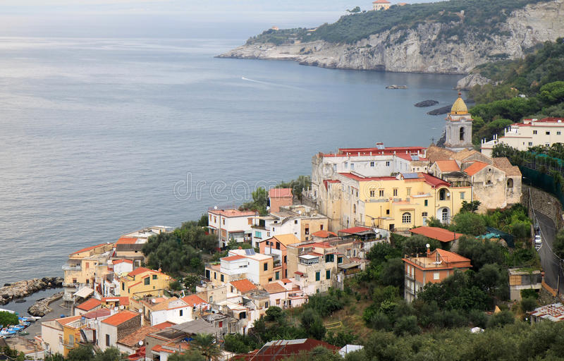 Massa Lubrense along the Amalfi Coast, Italy. Massa Lubrense is at the tip of the Sorrento Peninsula in the South of Italy. It was known to the Romans, who held royalty free stock image
